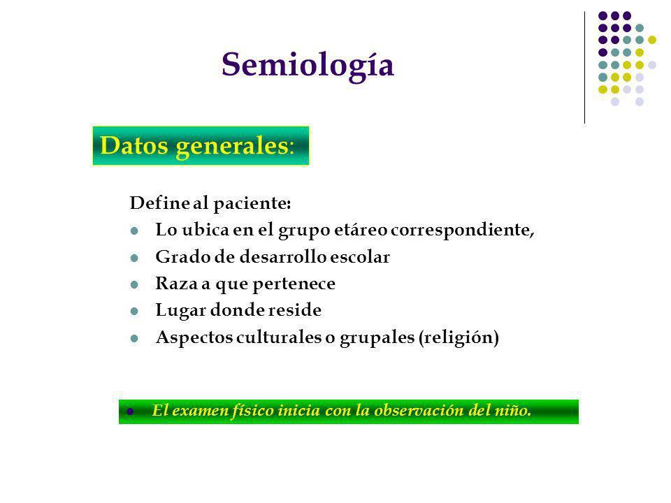 Semiología Define al paciente: Lo ubica en el grupo etáreo correspondiente, Grado de desarrollo escolar Raza a que pertenece Lugar donde reside Aspect