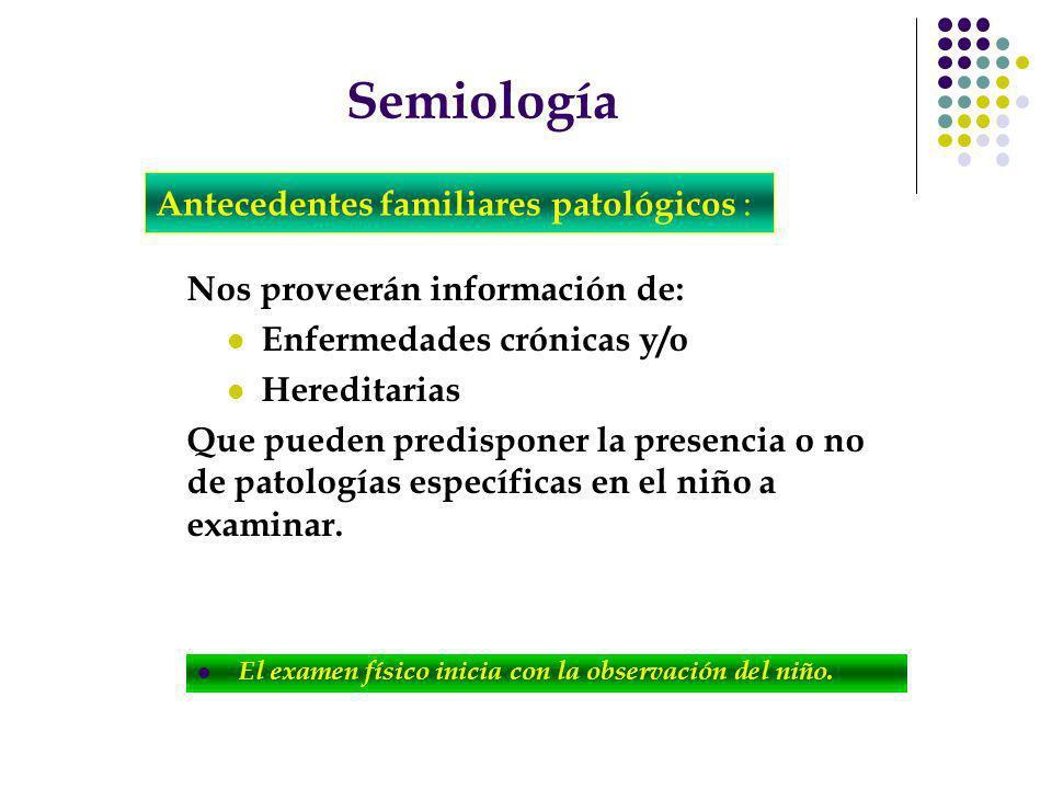 Semiología Nos proveerán información de: Enfermedades crónicas y/o Hereditarias Que pueden predisponer la presencia o no de patologías específicas en