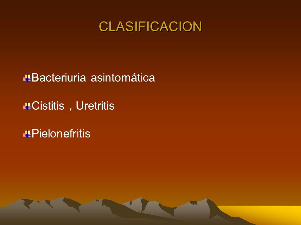 Bacteriuria asintomática Cistitis, Uretritis Pielonefritis CLASIFICACION