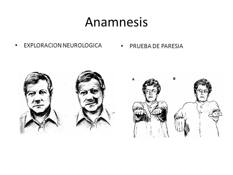 Anamnesis EXPLORACION NEUROLOGICA PRUEBA DE PARESIA