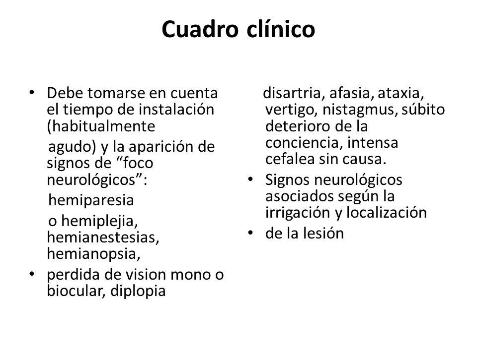 Cuadro clínico Debe tomarse en cuenta el tiempo de instalación (habitualmente agudo) y la aparición de signos de foco neurológicos: hemiparesia o hemi