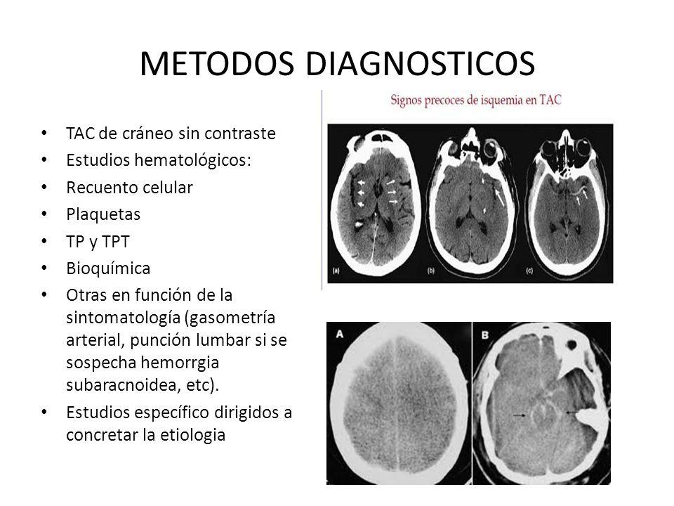 METODOS DIAGNOSTICOS TAC de cráneo sin contraste Estudios hematológicos: Recuento celular Plaquetas TP y TPT Bioquímica Otras en función de la sintoma