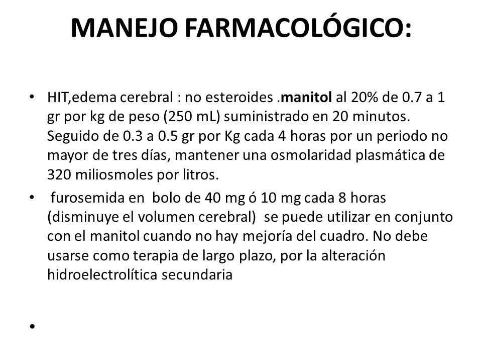 MANEJO FARMACOLÓGICO: HIT,edema cerebral : no esteroides.manitol al 20% de 0.7 a 1 gr por kg de peso (250 mL) suministrado en 20 minutos. Seguido de 0