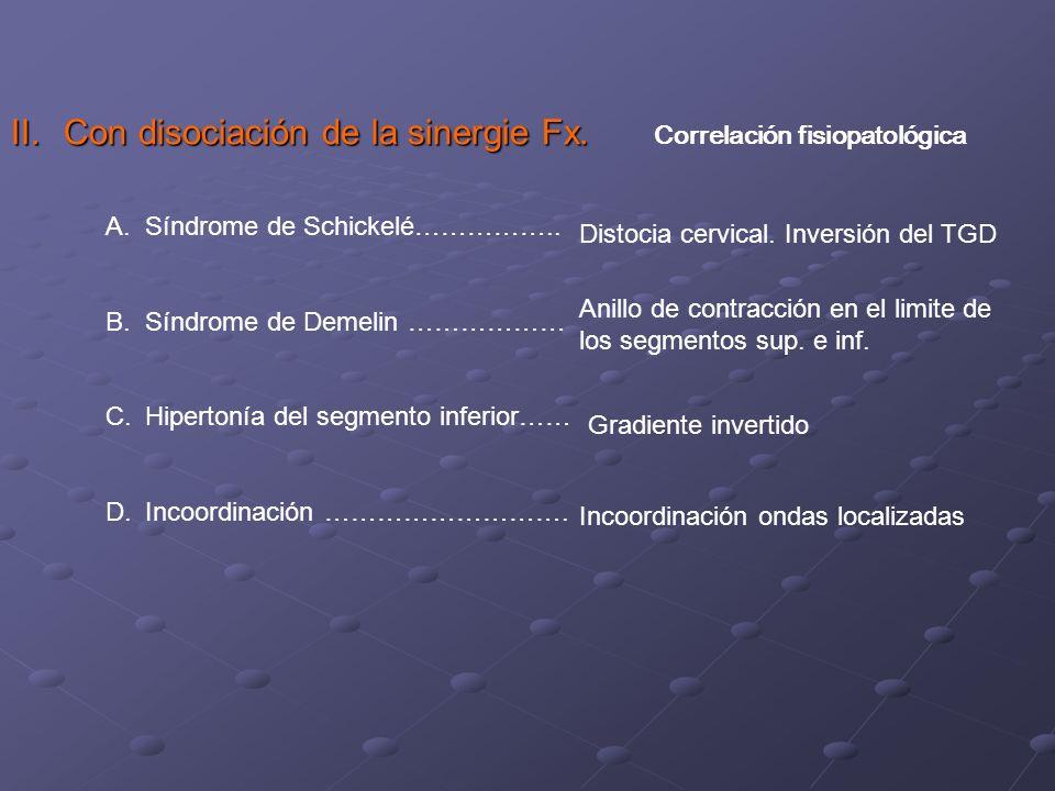 Con disociación del triple gradiente descendente 1.Síndrome de shickelé 2.Síndrome de Demelin 3.Hipertonía del segmento inferior 4.incoordinación