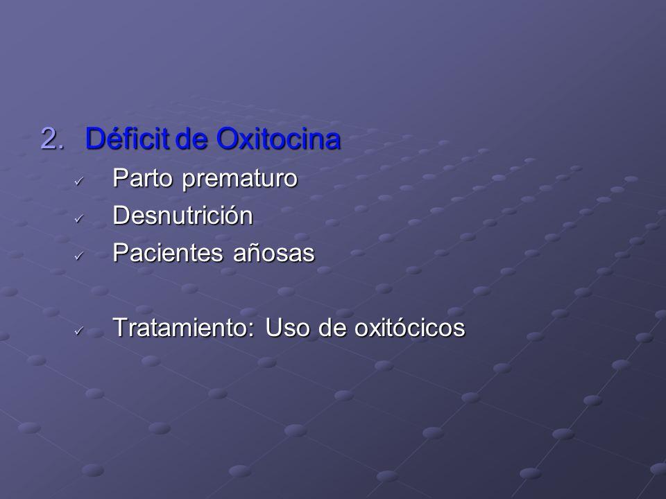 3.Impotencia funcional del músculo uterino ( anatómica) Miomatosis Miomatosis Hipoplasia Hipoplasia Distensión excesiva Distensión excesiva Polihidramnios Polihidramnios Embarazo múltiple Embarazo múltiple Macrosómico Macrosómico Intoxicación medicamentosa Intoxicación medicamentosa Infección ovular Infección ovular Tratamiento: uso de oxitócico