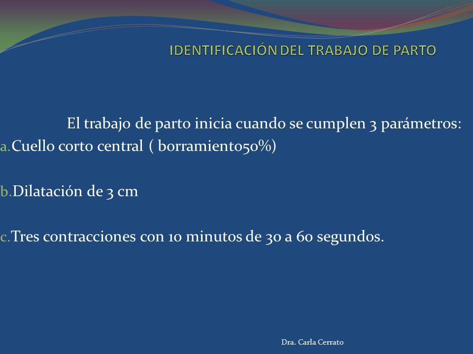El trabajo de parto inicia cuando se cumplen 3 parámetros: a. Cuello corto central ( borramiento50%) b. Dilatación de 3 cm c. Tres contracciones con 1