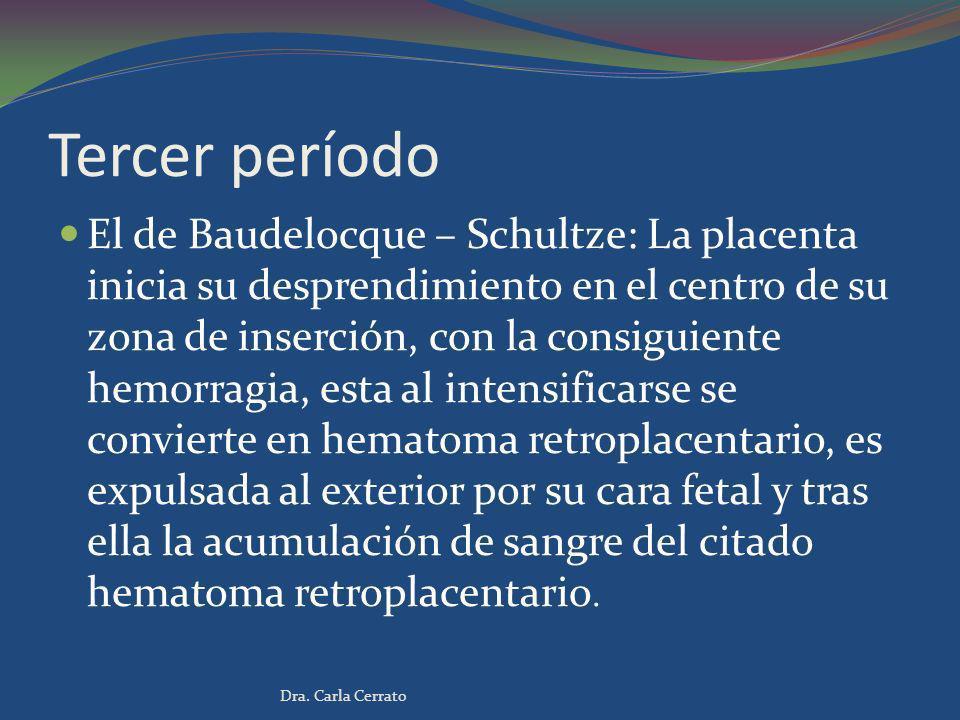 Tercer período El de Baudelocque – Schultze: La placenta inicia su desprendimiento en el centro de su zona de inserción, con la consiguiente hemorragi