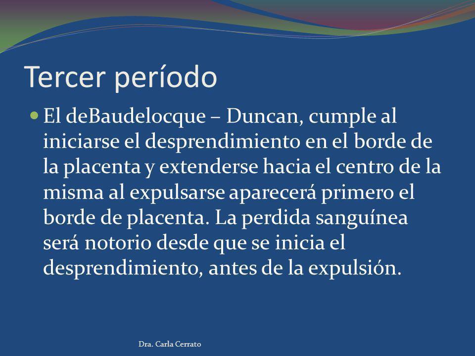 Tercer período El deBaudelocque – Duncan, cumple al iniciarse el desprendimiento en el borde de la placenta y extenderse hacia el centro de la misma a