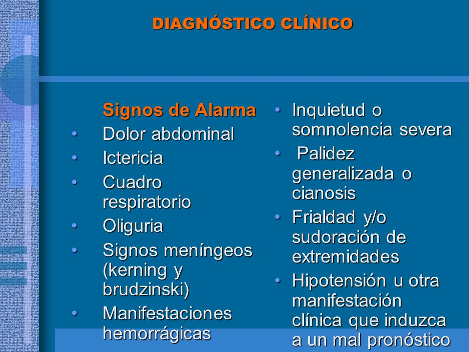 DIAGNÓSTICO CLÍNICO Signos de Alarma Dolor abdominalDolor abdominal IctericiaIctericia Cuadro respiratorioCuadro respiratorio OliguriaOliguria Signos