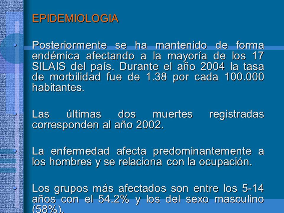 EPIDEMIOLOGIA Posteriormente se ha mantenido de forma endémica afectando a la mayoría de los 17 SILAIS del país. Durante el año 2004 la tasa de morbil