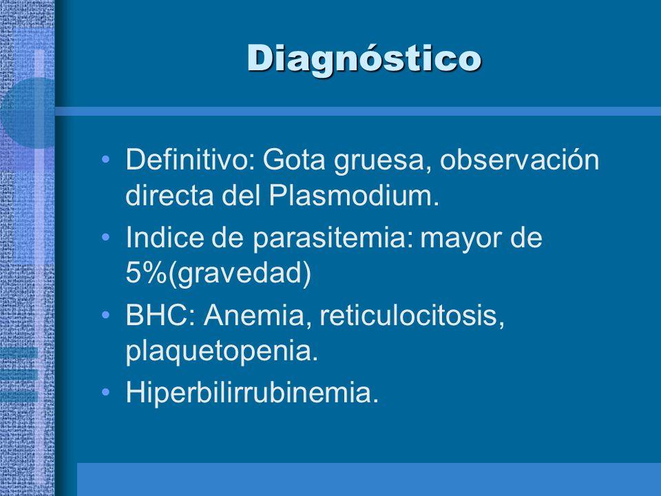 Diagnóstico Definitivo: Gota gruesa, observación directa del Plasmodium. Indice de parasitemia: mayor de 5%(gravedad) BHC: Anemia, reticulocitosis, pl