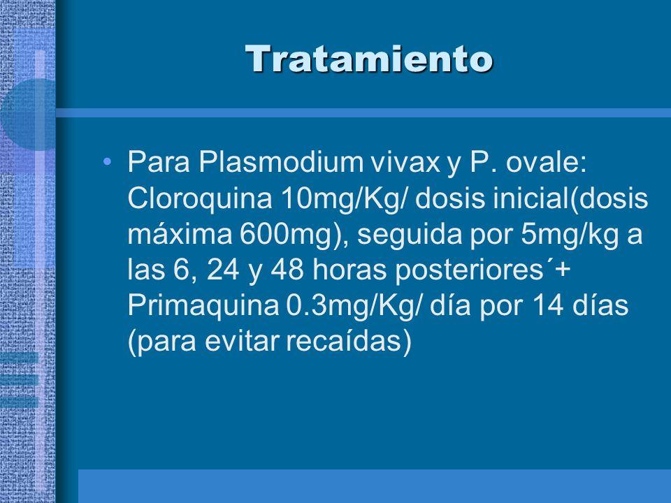 Tratamiento Para Plasmodium vivax y P. ovale: Cloroquina 10mg/Kg/ dosis inicial(dosis máxima 600mg), seguida por 5mg/kg a las 6, 24 y 48 horas posteri