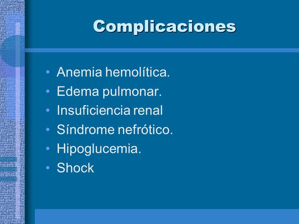 Complicaciones Anemia hemolítica. Edema pulmonar. Insuficiencia renal Síndrome nefrótico. Hipoglucemia. Shock