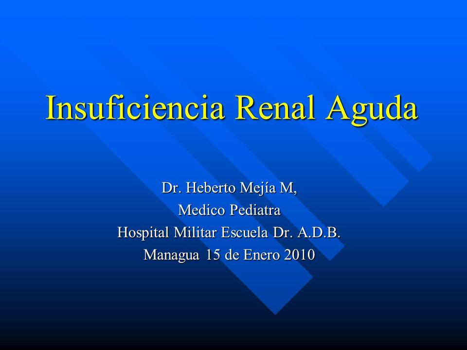 Insuficiencia renal aguda: Clínica Volumen de diuresis Volumen de diuresis –Oliguria < 0,5 ml/kg/h –Poliuria > 2 ml/kg/h Agua corporal Agua corporal –Edema - híper volemia-HTA-Encefalopatía –Deshidratación-hipovolemia Trastorno electrolítico (Na + /K + /Ca 2+ /H + ) Trastorno electrolítico (Na + /K + /Ca 2+ /H + ) »Conciencia »Polipnea »Arritmia cardiaca »Músculo-esquelético Anemia Anemia Alteraciones urinarias Alteraciones urinarias –Hematuria –Proteinuria National Kidney Foundation.