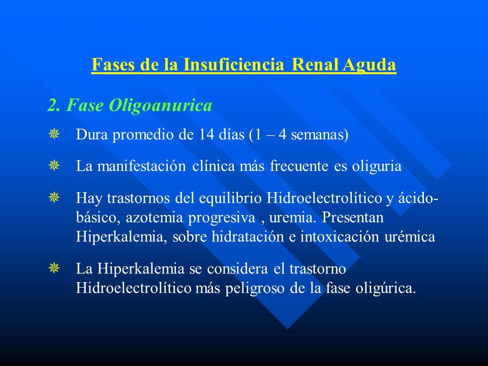2. Fase Oligoanurica Dura promedio de 14 días (1 – 4 semanas) La manifestación clínica más frecuente es oliguria Hay trastornos del equilibrio Hidroel