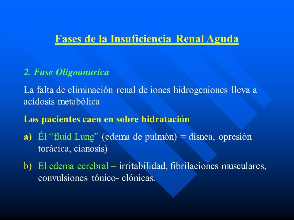 2. Fase Oligoanurica La falta de eliminación renal de iones hidrogeniones lleva a acidosis metabólica Los pacientes caen en sobre hidratación a)Él flu