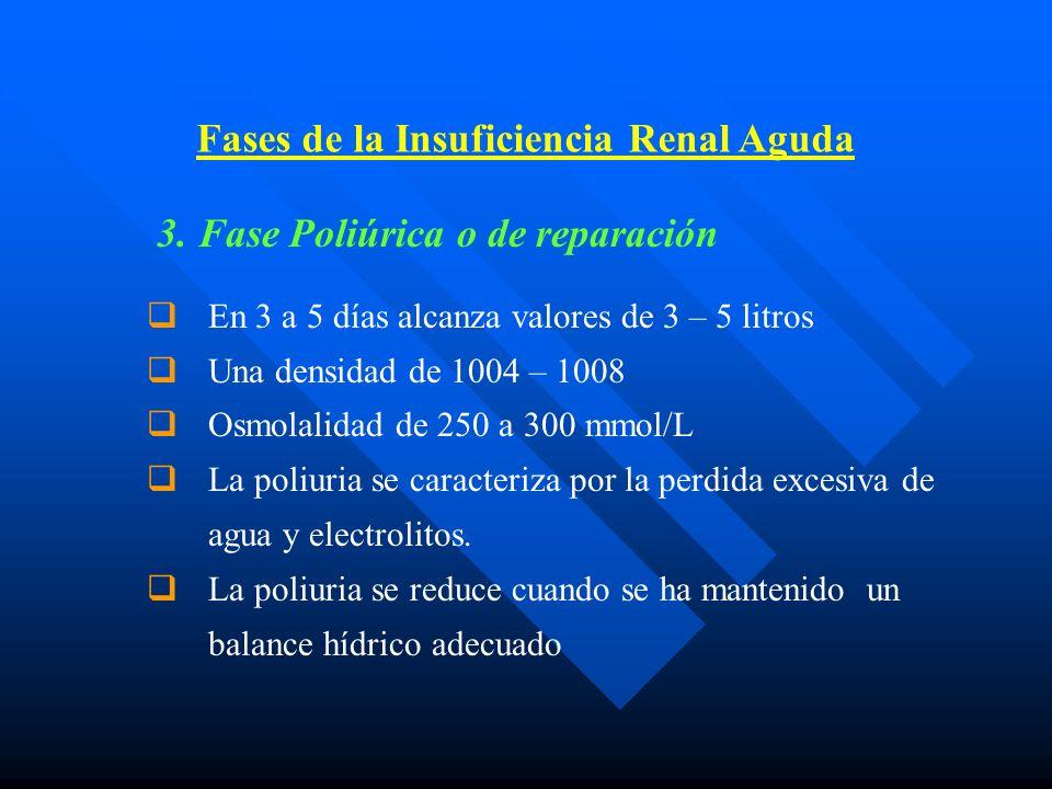 3. Fase Poliúrica o de reparación En 3 a 5 días alcanza valores de 3 – 5 litros Una densidad de 1004 – 1008 Osmolalidad de 250 a 300 mmol/L La poliuri