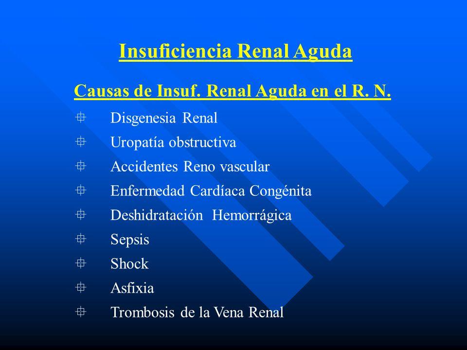 Insuficiencia Renal Aguda CRITERIOS DIAGNOSTICOS _______________________________ FeNa > 2 Anamnesis + CrS superior a 1.5 mg/dl U/P urea< 5+ U/P osmol<1.0+ CrS> 1.5 mg/dl __________________________________________ CrS: Creatinina Sérica U/P: Relación urinaria / plasmatica