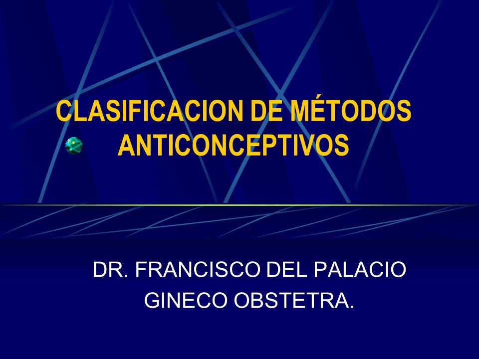 CLASIFICACION DE MÉTODOS ANTICONCEPTIVOS DR. FRANCISCO DEL PALACIO GINECO OBSTETRA.