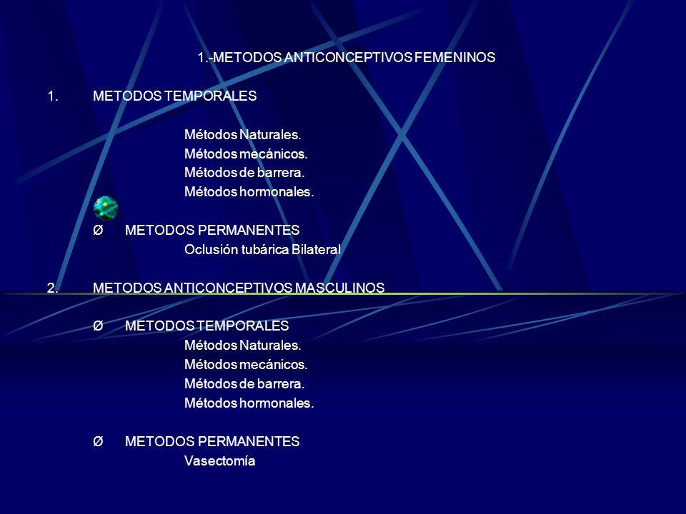 2.-METODOS ANTICONCEPTIVOS MASCULINOS METODOS TEMPORALES Métodos naturales. Métodos mecánicos. Métodos de barrera. Métodos hormonales. METODOS PERMANE