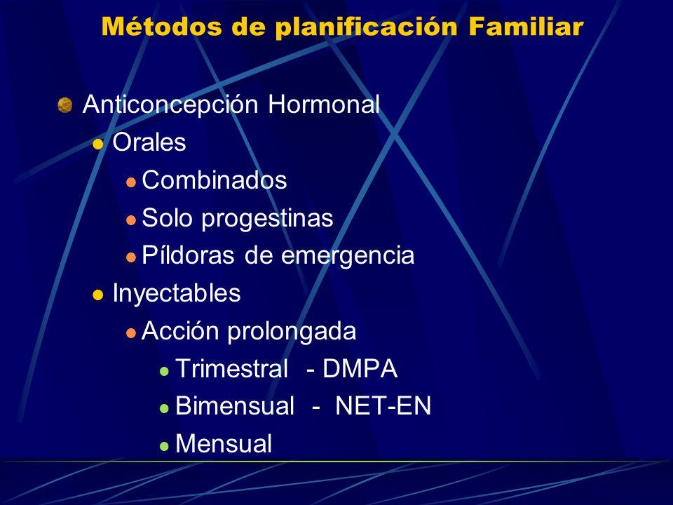 Métodos de planificación Familiar Anticonceptivos de Barrera Mecánicos: Condón Femenino Diafragma, capuchón Locales Método Químico Jaleas, espumas, Sp