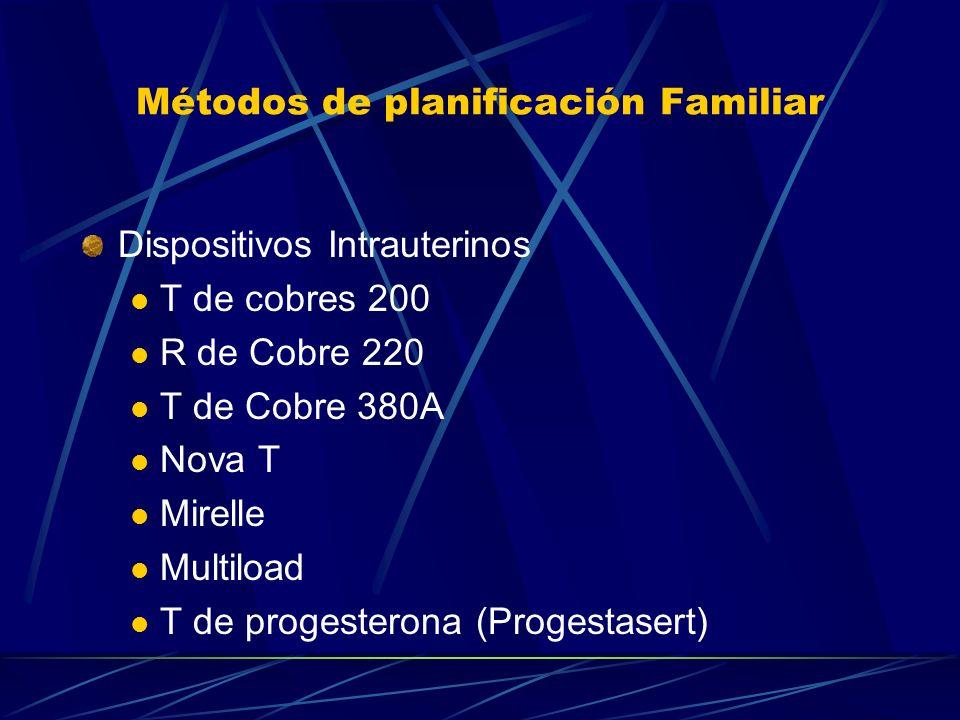 Métodos de planificación Familiar Implantes Subdermicos Dispositivos hormonales Liberador de Levonorgestrel - T-LNg-20 Anillos de Sylastic Anillo de p