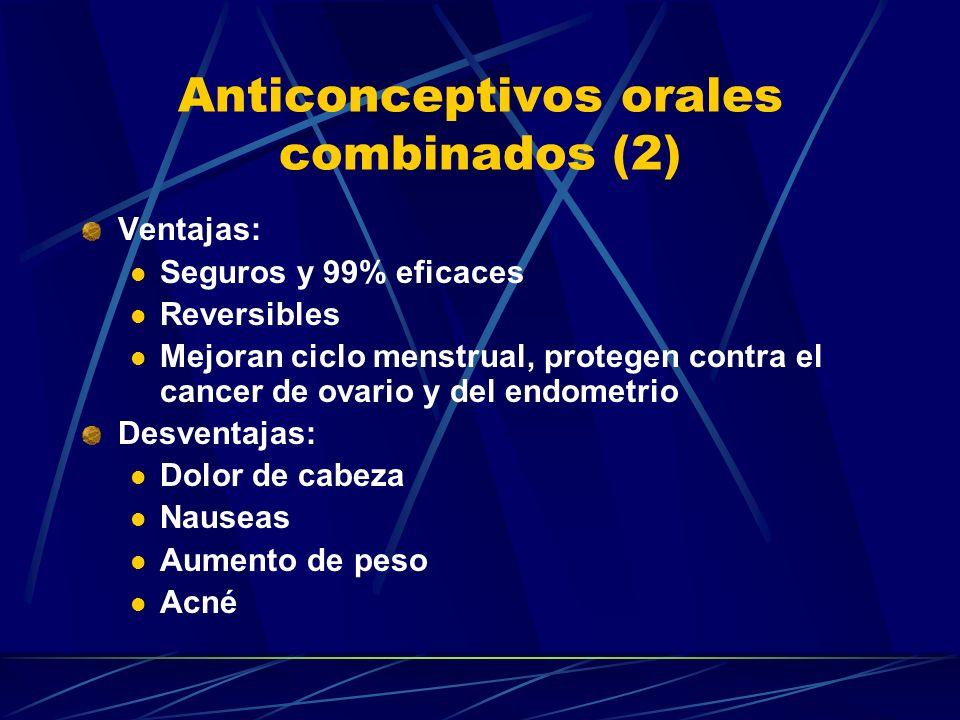 Anticonceptivos orales combinados (1) Contiene estrógeno y progestina. Neogynon (dosis media) Lo-femenal (Micro dosis) Mecanismo de acción: Inhiben la