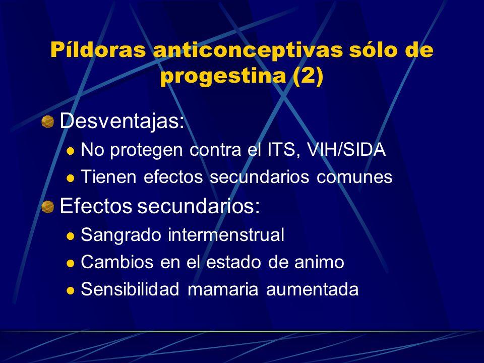 Píldoras anticonceptivas sólo de progestina (1) Ovrett: norgestrel 0.075 mg Mecanismo de acción: Moco Cervical espeso Cambios en el endometrio Inhiben