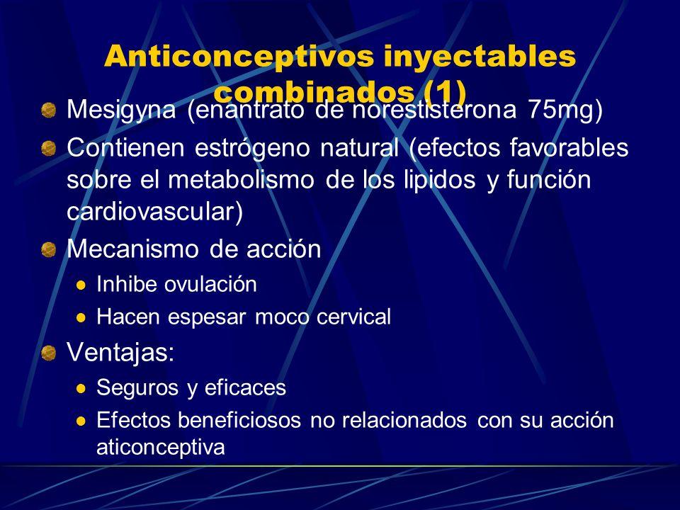 Dispositivos Intrauterinos (3) Contraindicaciones: Embarazo Infección después de un parto/aborto Sangrado vaginal inexplicado Cáncer de cuello uterino