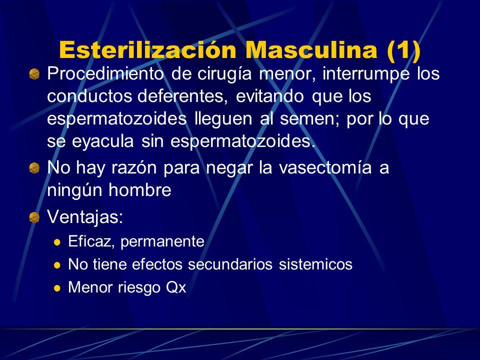 Esterilización Femenina (2) Seguimiento: Observación durante 2 – 6 hrs post-qx Una semana después para examinar HxQx En cualquier momento si hay signo