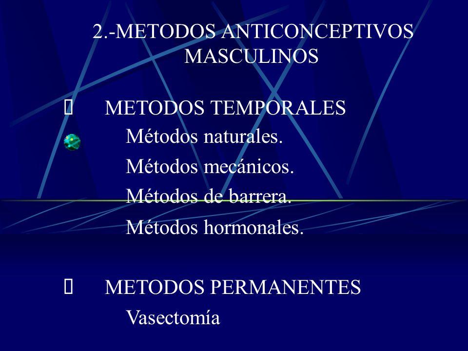 METODOS TEMPORALES Métodos Naturales. Métodos mecánicos. Métodos de barrera. Métodos hormonales. METODOS PERMANENTES Oclusión tubárica Bilateral
