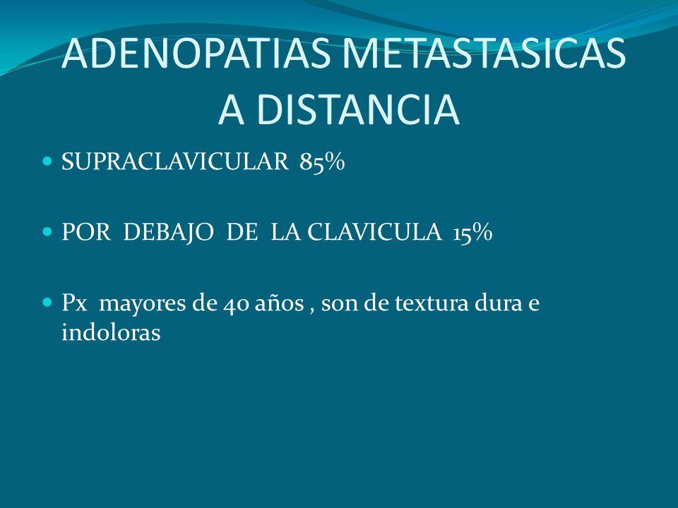 ADENOPATIAS METASTASICAS A DISTANCIA SUPRACLAVICULAR 85% POR DEBAJO DE LA CLAVICULA 15% Px mayores de 40 años, son de textura dura e indoloras