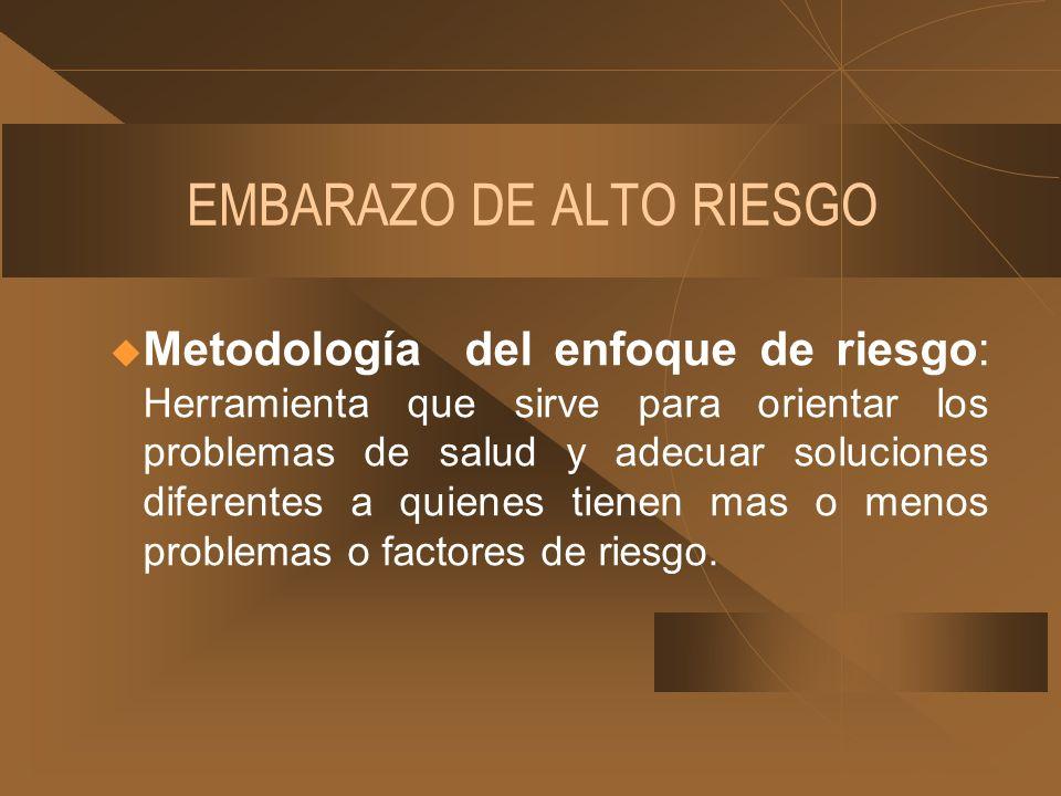 EMBARAZO DE ALTO RIESGO u Metodología del enfoque de riesgo: Herramienta que sirve para orientar los problemas de salud y adecuar soluciones diferente
