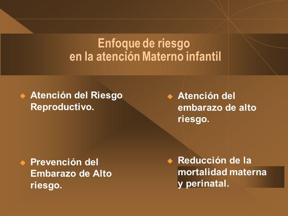 Enfoque de riesgo en la atención Materno infantil Atención del embarazo de alto riesgo. Reducción de la mortalidad materna y perinatal. Atención del R