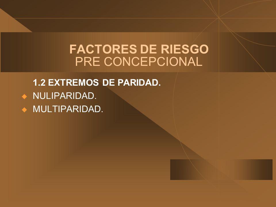 FACTORES DE RIESGO PRE CONCEPCIONAL 1.2 EXTREMOS DE PARIDAD. u NULIPARIDAD. u MULTIPARIDAD.