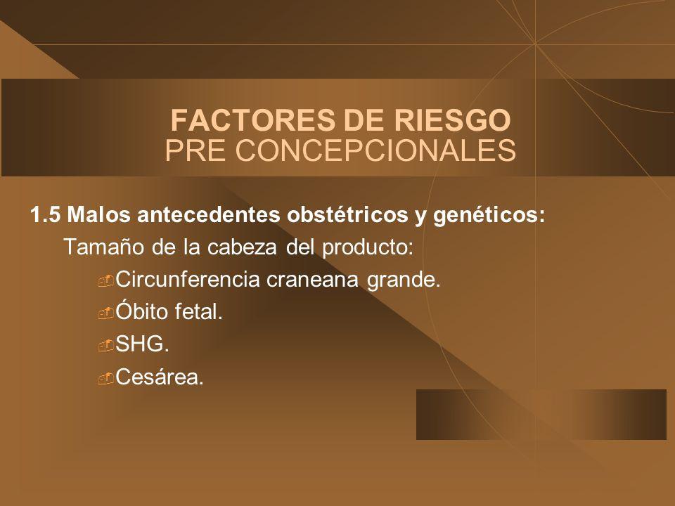 FACTORES DE RIESGO PRE CONCEPCIONALES 1.5 Malos antecedentes obstétricos y genéticos: Tamaño de la cabeza del producto: Circunferencia craneana grande