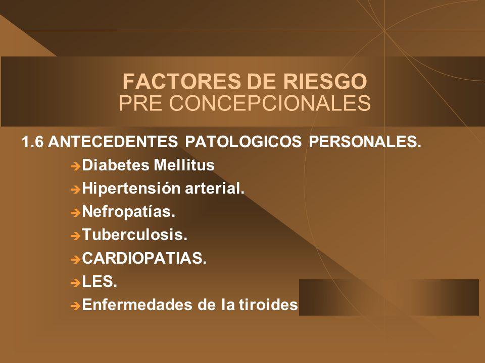 FACTORES DE RIESGO PRE CONCEPCIONALES 1.6 ANTECEDENTES PATOLOGICOS PERSONALES. Diabetes Mellitus Hipertensión arterial. Nefropatías. Tuberculosis. CAR