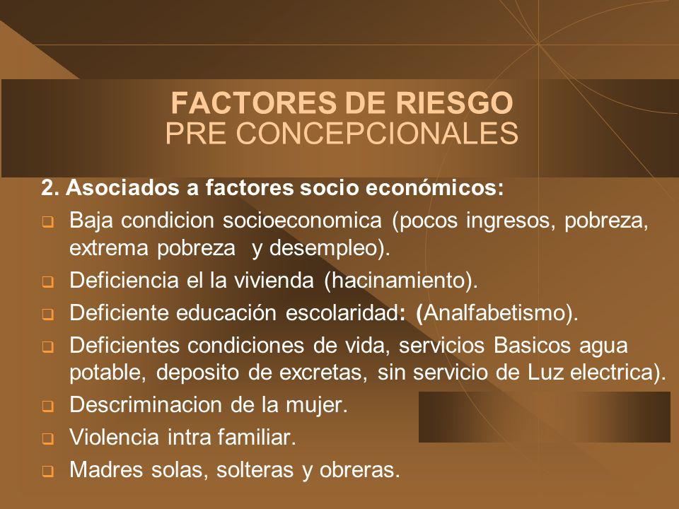FACTORES DE RIESGO PRE CONCEPCIONALES 2. Asociados a factores socio económicos: Baja condicion socioeconomica (pocos ingresos, pobreza, extrema pobrez