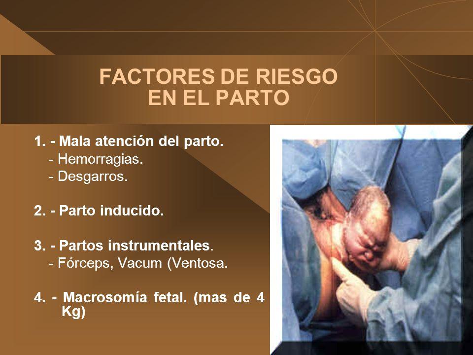 FACTORES DE RIESGO EN EL PARTO 1. - Mala atención del parto. -Hemorragias. -Desgarros. 2. - Parto inducido. 3. - Partos instrumentales. -Fórceps, Vacu
