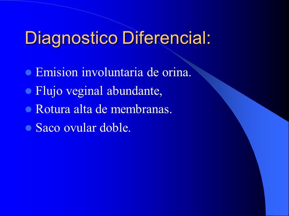 Diagnostico Diferencial: Emision involuntaria de orina. Flujo veginal abundante, Rotura alta de membranas. Saco ovular doble.