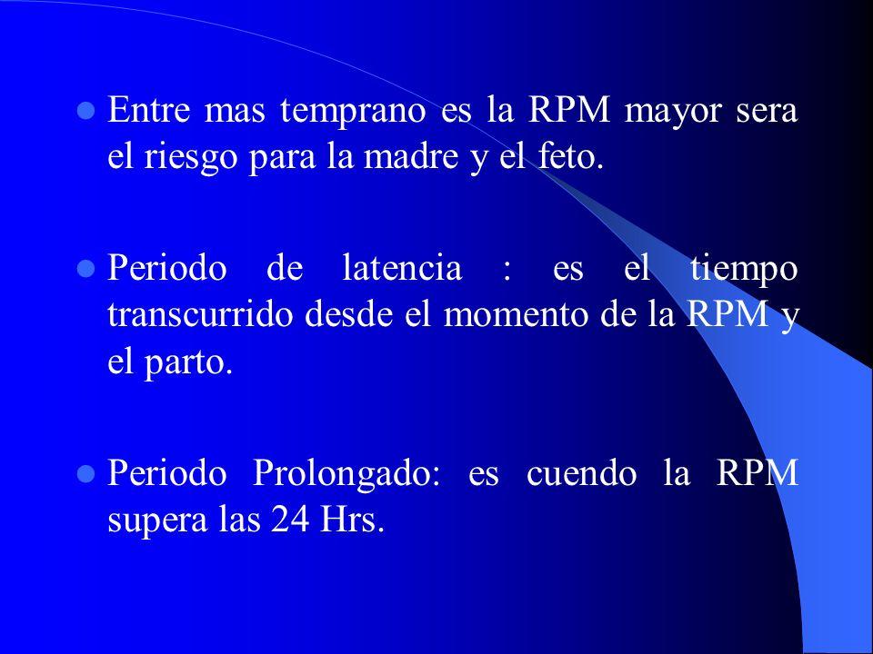 Entre mas temprano es la RPM mayor sera el riesgo para la madre y el feto. Periodo de latencia : es el tiempo transcurrido desde el momento de la RPM