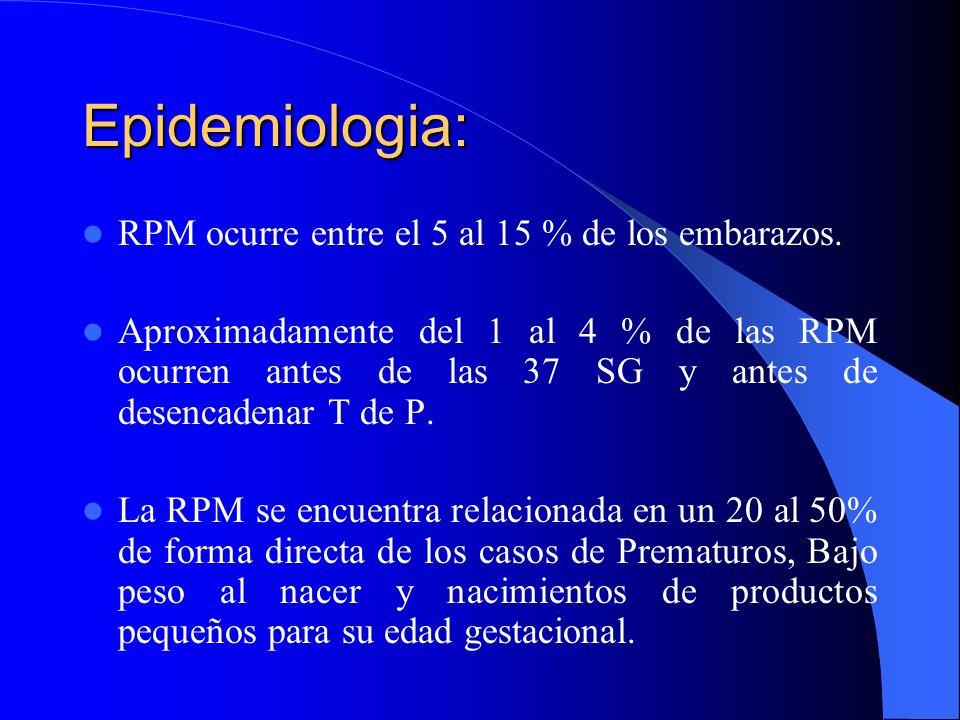 Epidemiologia: RPM ocurre entre el 5 al 15 % de los embarazos. Aproximadamente del 1 al 4 % de las RPM ocurren antes de las 37 SG y antes de desencade