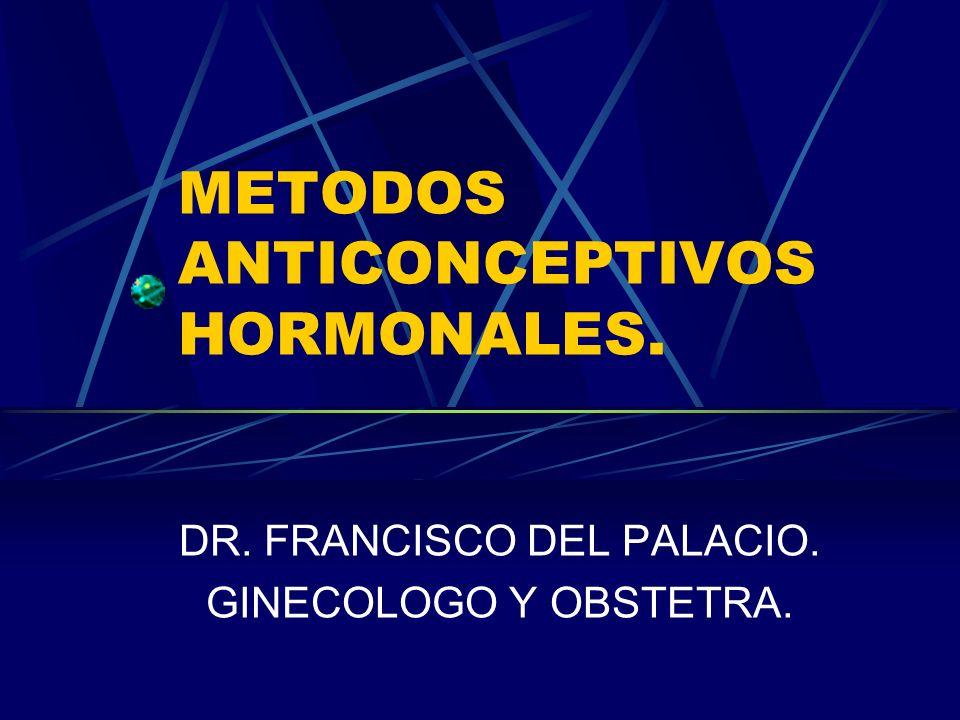 METODOS ANTICONCEPTIVOS HORMONALES. DR. FRANCISCO DEL PALACIO. GINECOLOGO Y OBSTETRA.