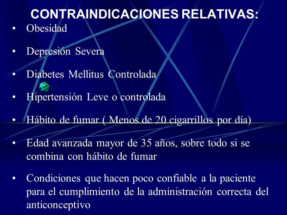 CONTRAINDICACIONES ABSOLUTAS: Embarazo Migraña o jaqueca. Diabetes Mellitus no controlada Enfermedad hepática aguda o crónica activa Sangrado no diagn