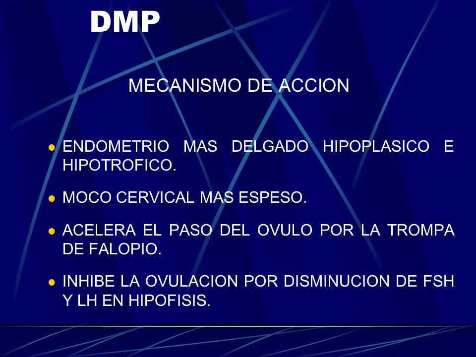 MEDROXIPROGESTERONA O DMP. CONOCIDA COMO DEPOPROVERA. DE USO TRIMESTRAL. CONTIENE 150 mg DE DMP. DE USO INTRAMUSCULAR. EFICACIA MAYOR DEL 99% SE REANU