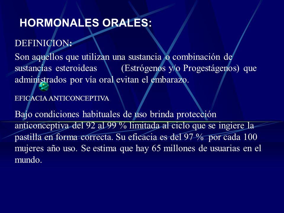 CLASIFICACION: Hormonales Hormonales Orales: Combinados Solo Progestágenos Hormonales Inyectables Intramusculares: Mensuales Trimestrales Hormonales I