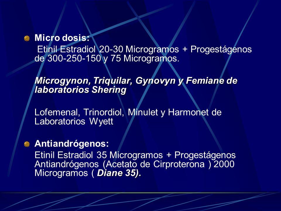 TIPOS: Dosis Alta: Etinil Estradiol >= 50 Microgramos + Progestágenos en dosis altas >= 500 Microgramos. ( No disponibles MINSA). Dosis Media: Neoginó
