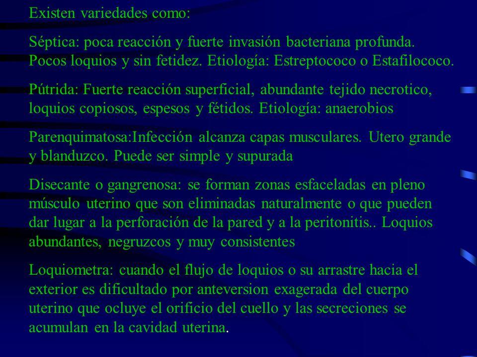 Existen variedades como: Séptica: poca reacción y fuerte invasión bacteriana profunda. Pocos loquios y sin fetidez. Etiología: Estreptococo o Estafilo