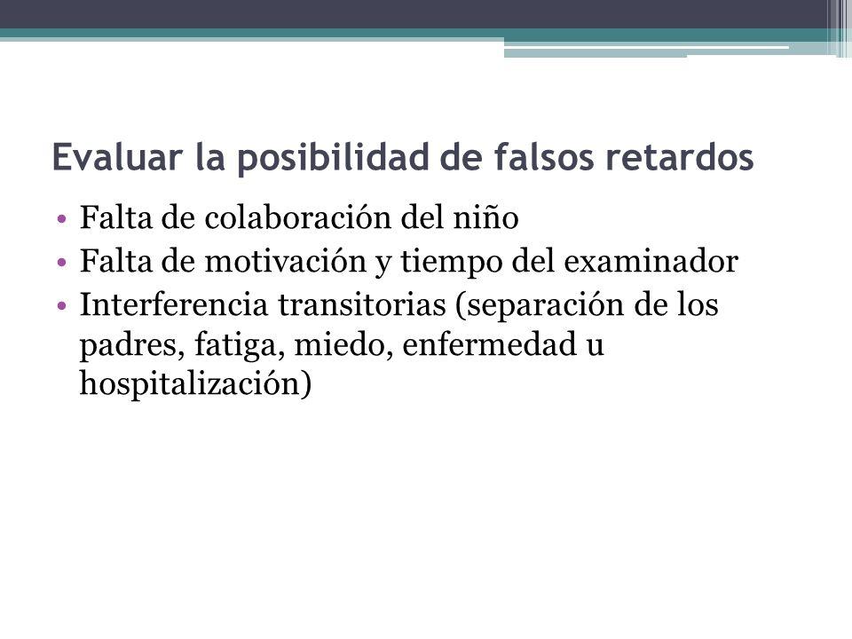Evaluar la posibilidad de falsos retardos Falta de colaboración del niño Falta de motivación y tiempo del examinador Interferencia transitorias (separ