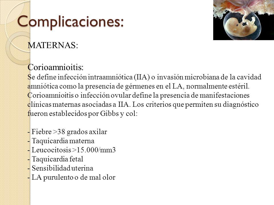 Complicaciones: MATERNAS: Corioamnioitis: Se define infección intraamniótica (IIA) o invasión microbiana de la cavidad amniótica como la presencia de